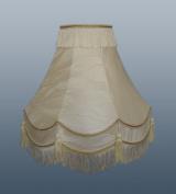 36cm Double Scallop Iceberg Lampshade with Gold Trim, Fringe & Tassle