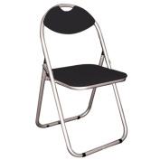 PERCH - Metal Framed Folding Padded Chair - Silver / Black