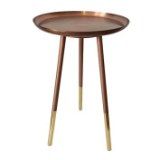 Bombay Duck BDF300C Round Side Table with Brass Legs, Copper