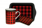 Premier Housewares Cheque Tea Time Gift Set - 3-Piece - Red
