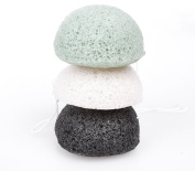 Konjac Sponge Set Of 3 Exfoliating Facial Sponges-Natural Cleaning Sponge-White-Activated Bamboo Charcoal-Green Tea-Vegan. Loofah For Cleansing Face From Xfacio Labs