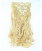 """Fashion 17""""43cm Curly 8pcs Full Head Hairpiece Clip in Hair Extensions Golden Mix Bleach Blonde 8piece 18clips Hairpiece Party Wedding Hair"""