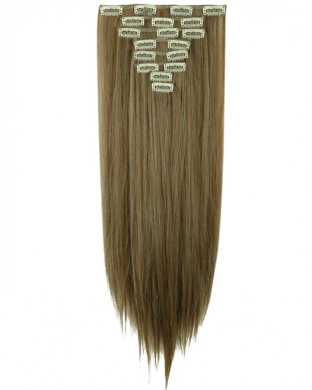 "Sexy 23""58cm Straight 8pcs Ash Brown Mix Bleach Blonde Full Head Hairpiece Clip in Hair Extensions 8piece 18clips Hairpiece Party Wedding Hair"