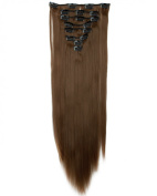 """Sexy 23""""58cm Straight 8pcs Light Brown Full Head Hairpiece Clip in Hair Extensions 8piece 18clips Hairpiece Party Wedding Hair"""
