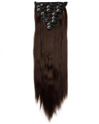 """Sexy 23""""58cm Straight 8pcs Medium Brown Full Head Hairpiece Clip in Hair Extensions 8piece 18clips Hairpiece Party Wedding Hair"""