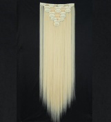 """Sexy 23""""58cm Straight 8pcs Bleach Blonde Full Head Hairpiece Clip in Hair Extensions 8piece 18clips Hairpiece Party Wedding Hair"""