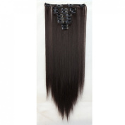 """Sexy 23""""58cm Straight 8pcs Dark Brown Full Head Hairpiece Clip in Hair Extensions 8piece 18clips Hairpiece Party Wedding Hair"""