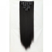 """Sexy 23""""58cm Straight 8pcs Natural Black Full Head Hairpiece Clip in Hair Extensions 8piece 18clips Hairpiece Party Wedding Hair"""