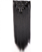 """Sexy 23""""58cm Straight 8pcs Dark Black Full Head Hairpiece Clip in Hair Extensions 8piece 18clips Hairpiece Party Wedding Hair"""