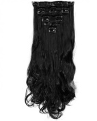 """Fashion 17""""43cm Curly 8pcs Full Head Hairpiece Clip in Hair Extensions Natural Black 8piece 18clips Hairpiece Party Wedding Hair"""