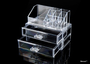 BerucciTM Clear Acrylic Jewellery Makeup Cosmetic Organiser Holder Storage - Two Piece Set with Two Bottom Drawers and Rectangular Top Design