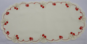 Valentine or Wedding Linen Doily with Red Hearts and White Bows Accented with Gold Thread.