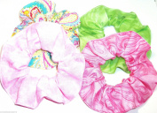 4 Hair Scrunchies Pink Swirls - Varigated Pink - Varigated Lime Green - Paisley Handmade by Scrunchies by Sherry