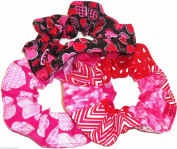 3 Valentines Day Hearts Hair Scrunchies Handmade by Scrunchies by Sherry Pink Red Black