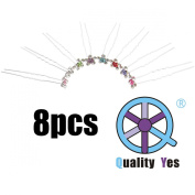 QY 8PCS Most Sparkling Hair Pin Alloy & Clear Crystal Hair Pins Flower Bridal Wedding Hair Accessory, 8 Colours