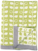 DARZZI Baby Leaf Baby Blanket, Green/Natural, 90cm x 110cm