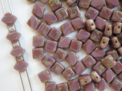 24pcs Silky Cut Beads, 2 Diagonal Holes , Czech Glass, Square 6x6mm, Opaque Violet Travertine Dark