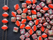 24pcs Silky Cut Beads, 2 Diagonal Holes , Czech Glass, Square 6x6mm, Red Coral Travertine Dark