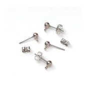 Ball Earring Posts with Loop and Butterfly Catch - Silver