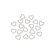 9MM x 11MM Jump Rings - Heart - Sterling Silver Plated