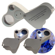 Jeweller Identifying Type 30X 60X Loop Magnifier Eye Loupe Lens LED 2in1