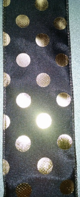 6.4cm Black Wired Edge Ribbon with Gold Dots - 3 Yards
