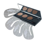 FiveBull 4 Colour Makeup Eyebrow Cake Powder Palette Eye Brow Shading Kit with Brush 4Pcs Stencils
