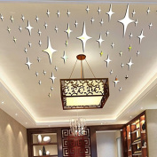 Alrens_DIY(TM)10cm*50pcs Bling-bling Stars DIY Acrylic Removable Decorative Mirror Surface Crystal Wall Stickers 3D Home Decal Room Murals Wall Paper Decor Gift
