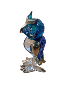 TINY CRYSTAL OWL HAND BLOWN CLEAR GLASS ART OWL FIGURINE ANIMALS COLLECTION GLASS BLOWN 001