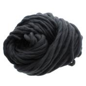 MMRM Super Chunky Yarn Soft Wool Roving Bulky Yarn Spinning Hand Knitting - 260G - Black
