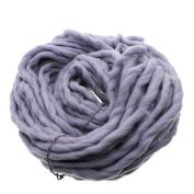 MMRM Super Chunky Yarn Soft Wool Roving Bulky Yarn Spinning Hand Knitting - 260G - Grey