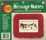 Holiday Message Mattes Counted Cross Stitch & Matte Frame Kit Home Is Where You Hand Your Christmas Memories