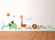 Pop Decors PT-0165-Vb Beautiful Wall Decal, Cute Animals in The Jungle