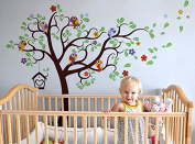 Pop Decors PT-0230-Va Wall Decal and Sticker, Nursery Tree with Colourful Parrots, 230cm