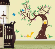 Pop Decors Removable Vinyl Art Wall Decals Mural for Nursery Room, Woodland in The Morning