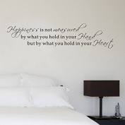 Pop Decors WL-0104-Vb Inspirational Quote Wall Decal, Happiness is Not Measured by what You Hold in Your Hand