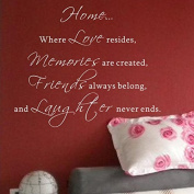 Pop Decors WL-0053-Va Inspirational Quote Wall Decal, Home Where Love Resides