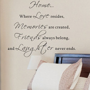 Pop Decors WL-0053-Vb Inspirational Quote Wall Decal, Home Where Love Resides