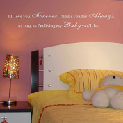 Pop Decors WL-0026-Va Inspirational Quote Wall Decal, I'll Love You Forever