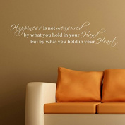Pop Decors WL-0104-Va Inspirational Quote Wall Decal, Happiness is Not Measured by what You Hold in Your Hand