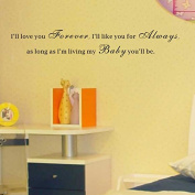 Pop Decors WL-0026-Vb Inspirational Quote Wall Decal, I'll Love You Forever