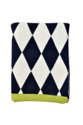 DARZZI Diamonds Baby Blanket, Navy/Natural