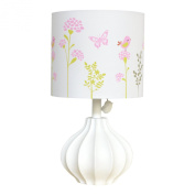 Just Born Botanica Nursery Lamp Fluted Base with Floral Shade, Pink/Coral/Green