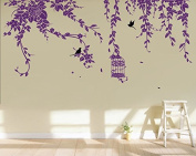Pop Decors PT-0178-Ve Beautiful Wall Decal, Elegant Leaves/Bird Cage with Flying Birds