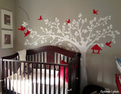 Pop Decors PT-0116-1VD Beautiful Wall Decals, Big Tree with Love Birds, 250cm