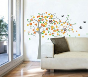 Pop Decors PT-0153-Vb Beautiful Wall Decal, Cute Flower Tree with Owl