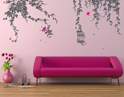 Pop Decors PT-0178-Vc Beautiful Wall Decal, Elegant Leaves/Bird Cage with Flying Birds