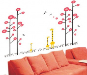 Pop Decors PT-0035-Va Beautiful Wall Decal, Giraffes and Polka Dot Trees