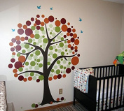 Pop Decors 0063VC Baby Tree Wall Decal Removable Vinyl Wall Sticker, Polka Dot Tree, 210cm