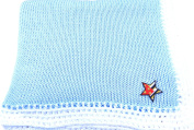 Knitted Crochet Finished Blue Cotton White Trim Baby Blanket with Star Flag